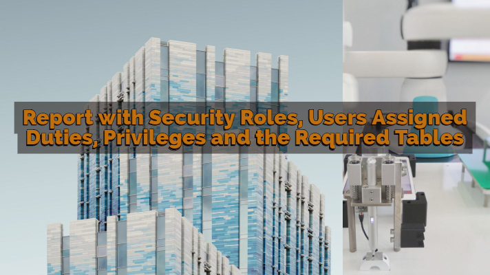 Report with Security Roles, Users Assigned Duties, Privileges and the Required Tables