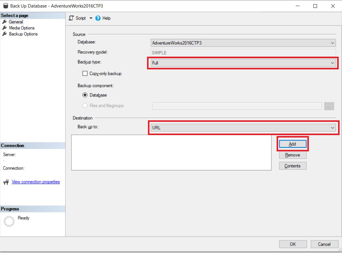 SQL Server Hybrid Backup to URL