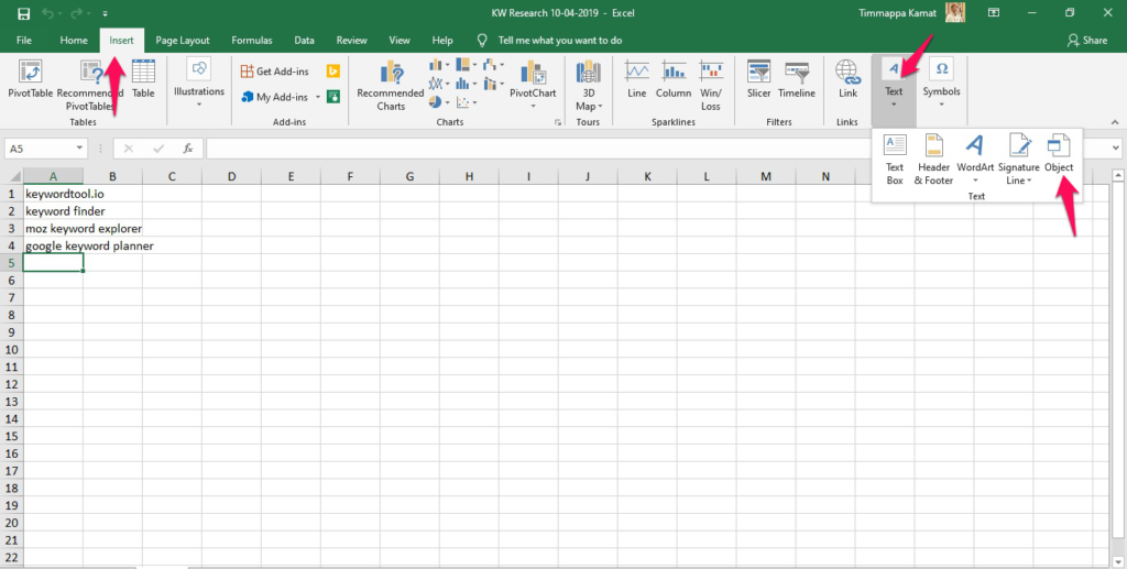 How To Insert Word Document in Excel for Office 2013, 2016