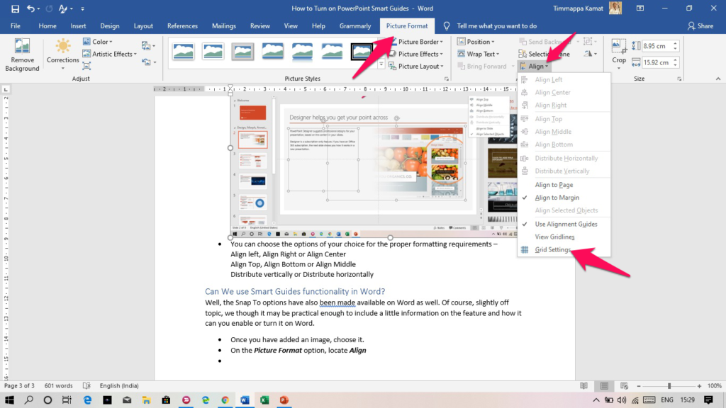 Turn on PowerPoint Smart Guides