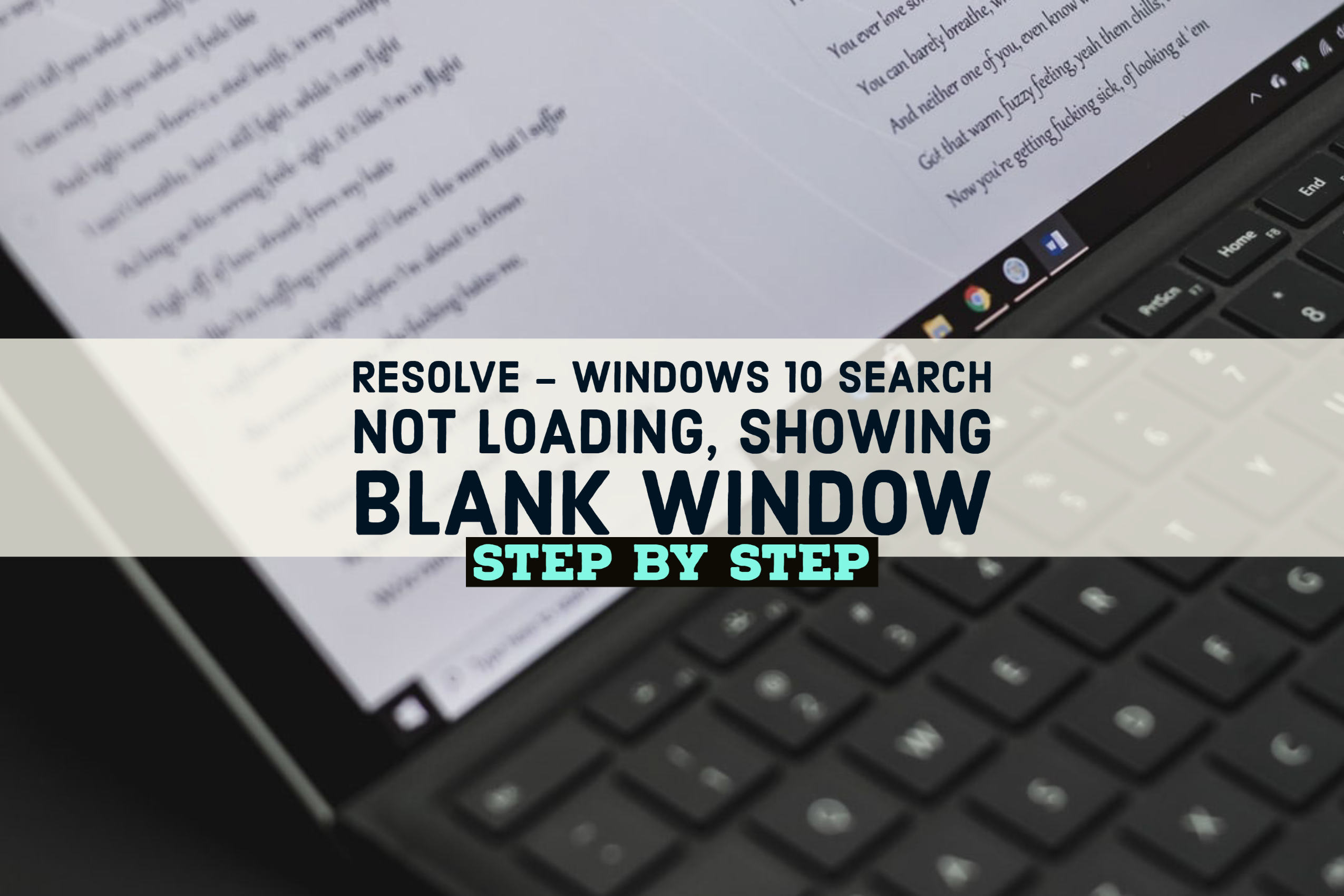 Resolve - Windows 10 Search not loading, showing blank window